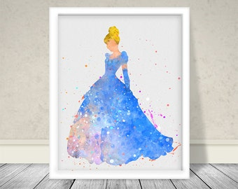 Watercolor Cinderella 2 Inspired Art, Disney Princess Art, Disney Art, Kids Room Art, Nursery art, Watercolor Cinderella