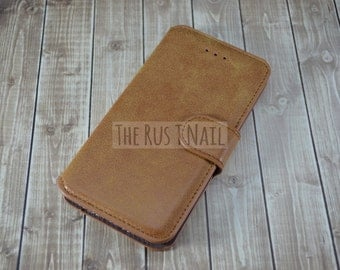 FREE SHIPPING - Personalized Brown iPhone 6 Wallet Case - Leather