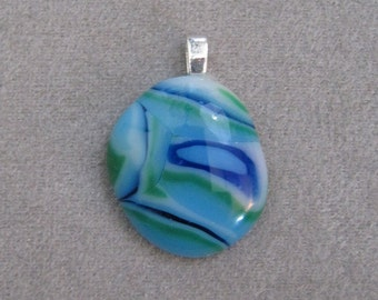 Fused Glass Nugget Pendant with Sterling Silver Bail - g0700d05