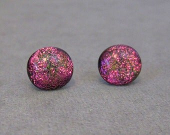 Pink Dichroic Glass Post Earrings with Sterling Silver Posts  - g0780e06