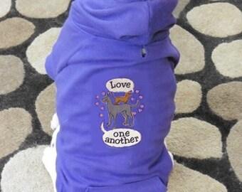 Love One Another Dog Hoodie Sweatshirt