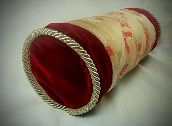 Decorative Silk Kimono Neck-Roll Pillow with wine red velvet