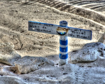 Photograph of a Turtle Nest Sign in Akumal, Quintana Roo, Mexico 201500143