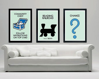 Monopoly Inspired Poster Set, Wall Decor, Community Chest, Chance, Reading Railroad