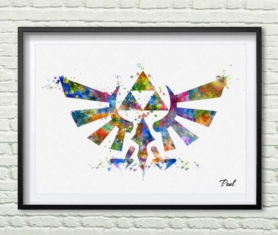 Zelda Wall Decoration : The legend of zelda print art watercolor wall