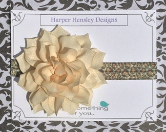 Cream flower on cheetah print headband
