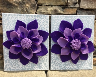 Large 3d felt flower canvas