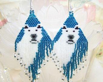 Beaded Earrings,Beadwork Polar Bear Earrings