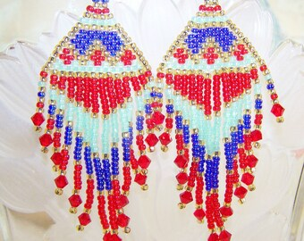 Native American Style Beadwork Earrings
