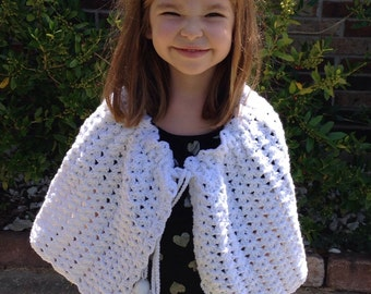White hand made crocheted cape