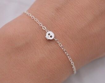 Silver Skull Bracelet, Tiny Skull Bracelet, Mini Skull Minimalist Bracelet, Skull Jewelry, Real Silver Chain, Skeleton, Gift for Her 0290