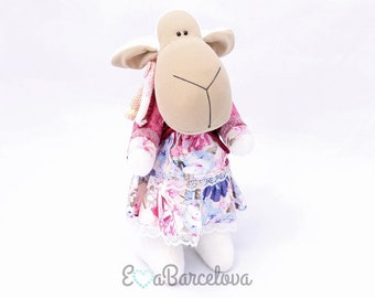 Sheep Madame, stuffed animal, handmade plush