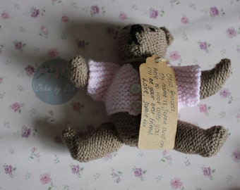 Hand knitted small teddy with a pink cardigan, perfect for a christening, christmas present, baby shower or for a little girl