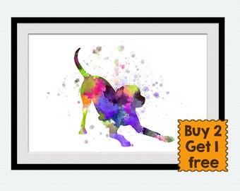 Dog print Dog watercolor poster Dog colorful print Animal watercolor print Dog lovers print for gift Home decoration Kids room art  W247