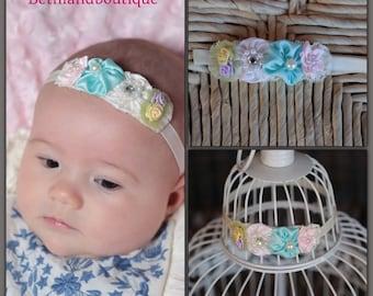 Baby Headband-Flower Headband-Baby Headbands-Newborn Headband-Baby Girl Headband-Christening Headband, Baptism Headband, Pastel Bow