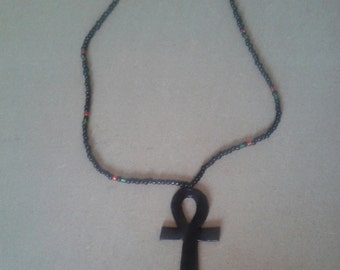 black ankh necklace with RBG beads