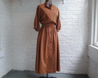vintage 70s handmade brown sweet floral print dress