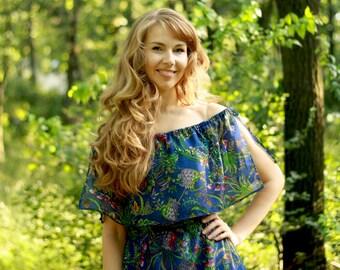 Maxi chiffon dress, Blue Chiffon Maxi Dress, Off shoulder Maxi Dress, dress with frill, Long chiffon dress