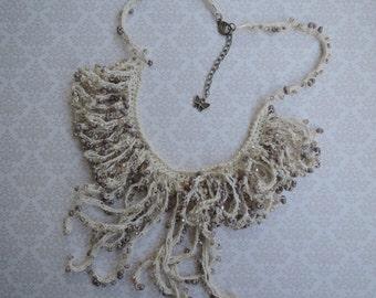 White crochet linen necklace
