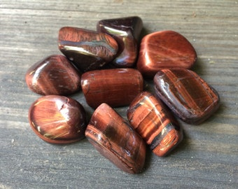 Red Tiger's Eye Tumbled Stone ~Set Of Two (2)