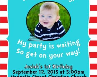 Dr. Seuss First Birthday Invitation