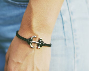 Silver & black anchor bracelet