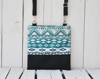Blue Aztec Festival Bag, Zippered Crossbody Bag, Printed bag, Aztec Canvas Bag, Shoulder Bag, Teenager Bag, Festival Wear, Birthday Gift,