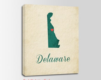 Delaware Canvas Print, Delaware Vintage Print, Delaware Map, Personalized Art, Wall Decor, Vintage Map, Nursery Art, USA