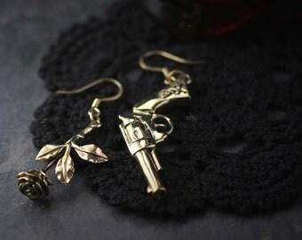Gun and Rose Earrings by Defy / Jewelry / Metal Work