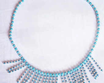 New Handmade Beaded Necklace with turquoise Beads and silver components Jewelry by Georgia