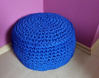 Pouf, floor cushion, Ottoman seat cushion in your desired color crochet