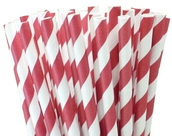 Red Stripe Paper Straws,  Paper Straws, Red Paper Straws, Striped Paper Straws, Party Straws, Red Striped Straws, Red Straws,10 pcs