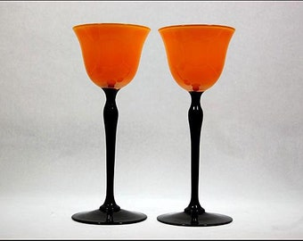 6 Vintage Art Glass Loetz Tango Orange Yellow Black Wine Goblets