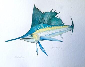 Blue Marlin, Coastal Art, Fish Art, Original watercolor Painting, Coastal & Beach Decor, Tropical, wall art, wall decor, Louisiana Painting