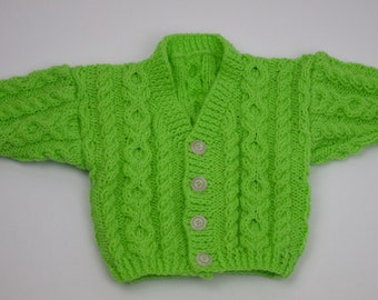 Bright Green Double Knit V-Neck Cardigan