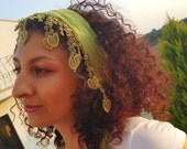 Green scarf ,100% cotton, very stylish,there are heart-shaped lace.
