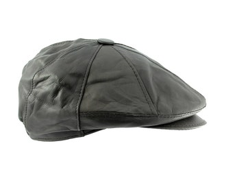 Mens Lambskin Geniune Leather Newsboy/Cabbie Hat Cap, Small/Medium(Black)