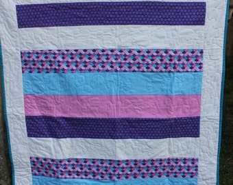 100% cotton Girls Baby Quilt or Playmat
