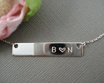 Hand Stamped Silver  Bar Necklace...Personalized Name plate bar jewelry, Sorority gift, monogram, bridesmaid gift