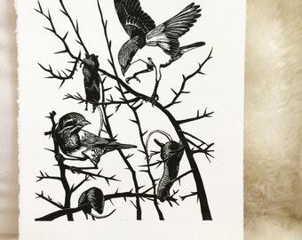 Shrike Linocut Print, Linoleum Cut Print, Unframed