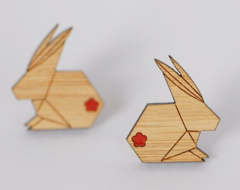 SALE - Origami Bunny Stud Earrings