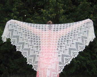 Handmade knitted laced shawl with beads. Made to order.
