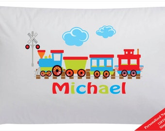 Kids Personalized Train Pillowcase Pillow Case Transportation Pillow Case