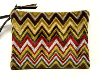 "Chevron velvet upholstery clutch / 7"" X 9' fabric and leather clutch / multi striped zigzag clutch / Fall clutch / Mid century clutch"