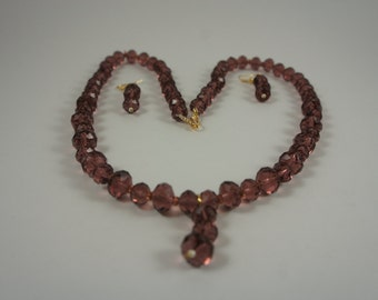 Chocolate Color Czech Crystal Beads Necklace Set