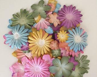 90 Count of Petaloo Flora Doodles Paper Flowers in Pastel Colors, Card Making Flowers, Scrapbooking Flowers, Finishing Flowers