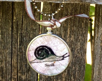 Monocle Style Snail Pendant Necklace on Ball Chain Made By Lacy