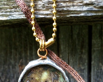 Gold Ball Chain Necklace With Double Sided Pendant Made By Lacy