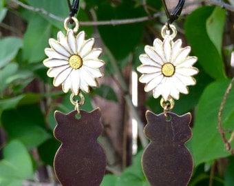 Brass Owl and Gold Daisy Earrings