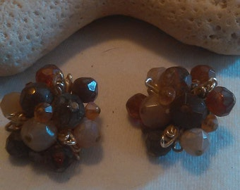 Burst of Autumn Cluster Vintage Earrings